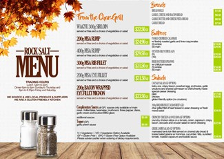 Rock Salt Bistro Menu (front)