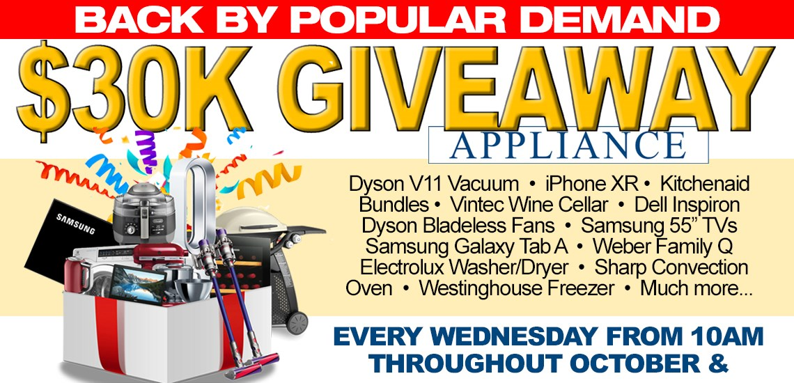 $30K Appliance Giveaway (Back by Popular Demand)